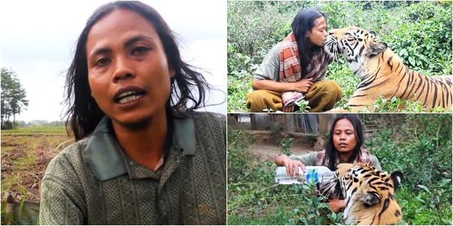 Unik, Pria Indonesia Berteman dengan Macan