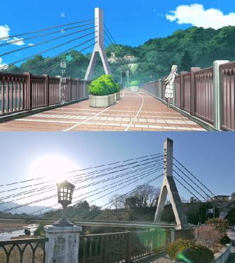 Chichibu City anime (atas) dan aslinya