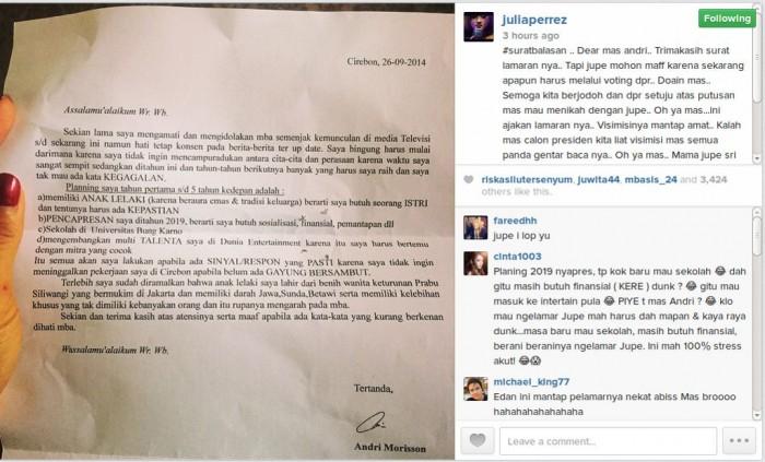 Surat yang ditulis Andri