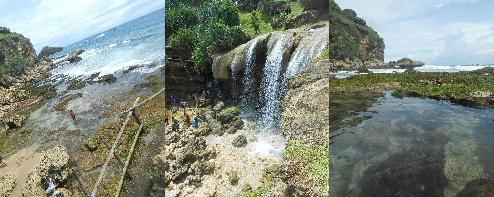 Pantai Jogan, Indahnya Pertemuan Air Terjun dan Tepi Laut