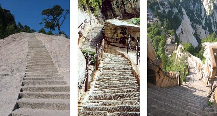 Wisata Naik Tangga Ekstrem 90 Derajat di Gunung China