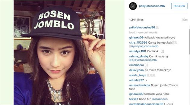 Prilly pakai topi 'bosan jomblo' (instagram)