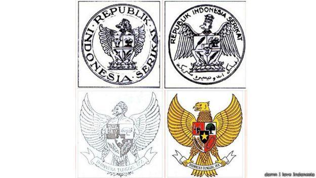 Berbagai konsep lambang Garuda Pancasila hingga kini. Konsep Sultan Hamid II ada di kiri bawah (Berita24h)