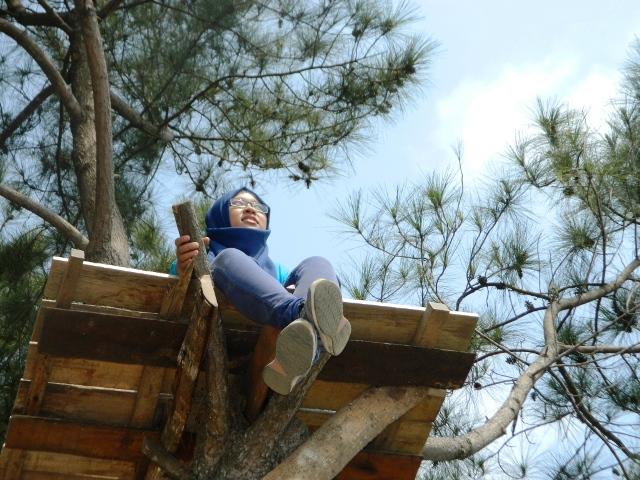 Melepas penat di ketinggian gardu pohon setinggi 5 meter