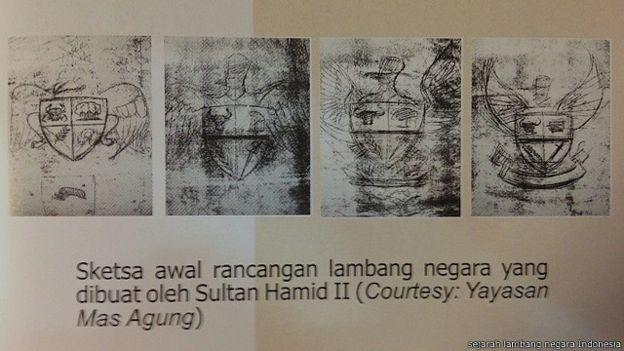 Sketsa rancangan Garuda Pancasila buatan Sultan Hamid II (Berita24h)