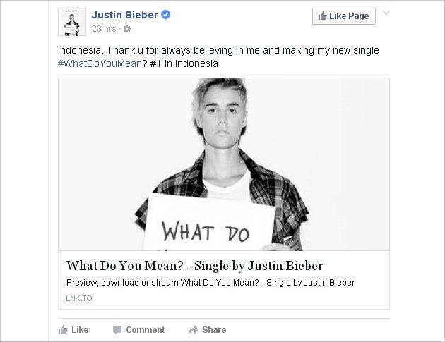 Ucapan terima kasih Justin untuk Indonesia (Facebook)