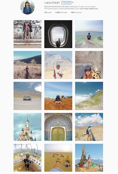 Instagram milik Pandhu, solo traveler asal Indonesia. Keren kan? (instagram.com)