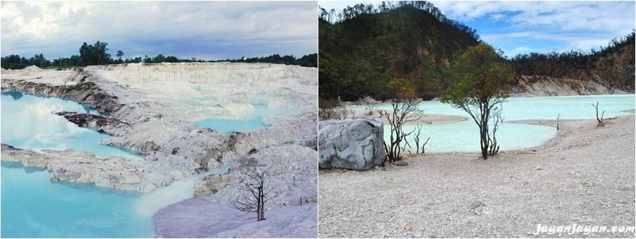 Ini Danau Kaolin (kiri) dan Pantai Pasir Ciwidey (kanan), sama-sama cantik ya (jadiberita.com)