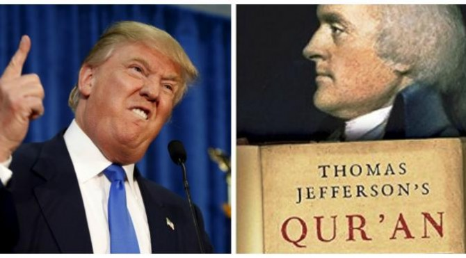 Donald Trump dan buku sejarah Thomas Jefferson (Reuters)