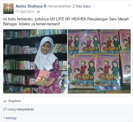Nadia bersama buku karyanya (facebook.com)