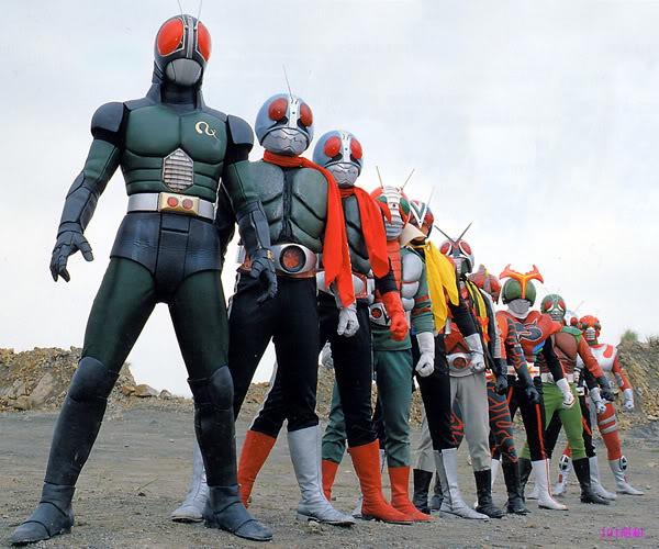Kamen Rider Black RX bersama Kamen Rider sebelumnya (Duniaku)