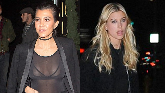 Kourtney Kardashian (Kiri) dan Hailey Baldwin (YouTube)