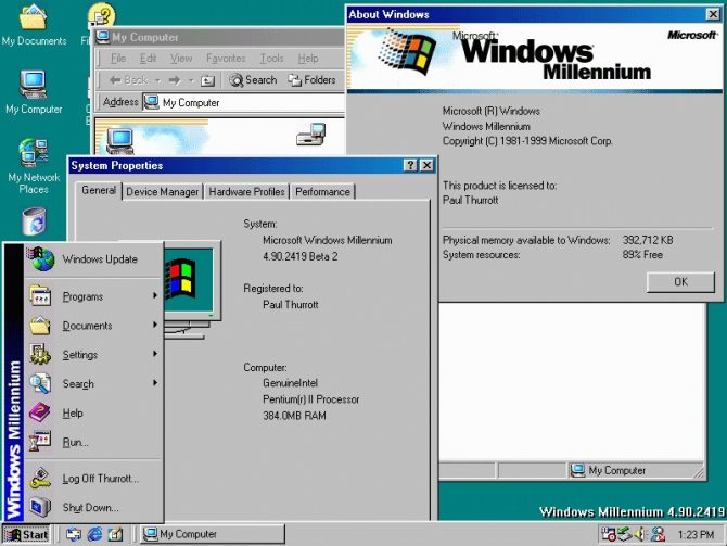 Tampilan Windows Millenium Edition (ME) (Winsupersite)