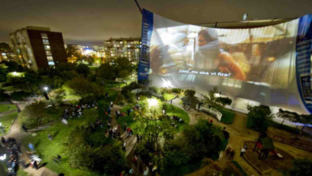 Layar bioskop di Rosengard (Gizmodo)