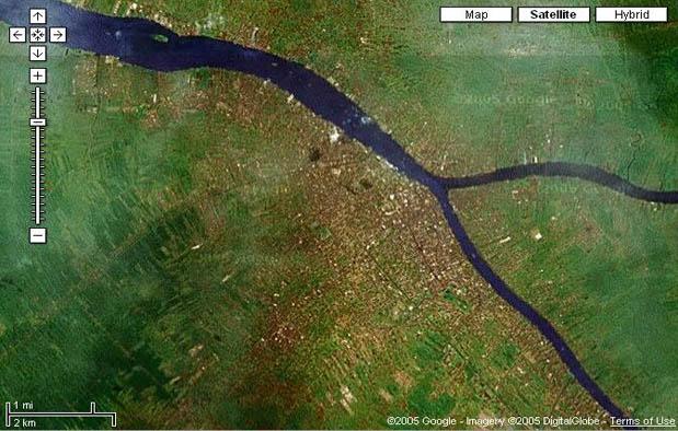 Pontianak dari pantauan satelit (Google Earth)