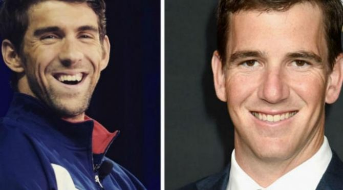 Michael Phelps dan Eli Manning (Daily Mail)
