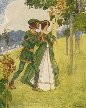 Ilustrasi Robin Hood dan Maid Marian (Mainlesson)