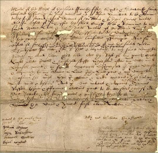 Salah satu potongan surat wasiat William Shakespeare (Wikipedia)