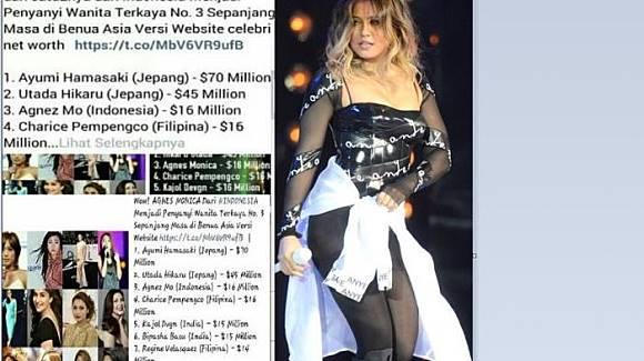 Peringkat penyanyi terkaya ketiga se-Asia (Isntagram)