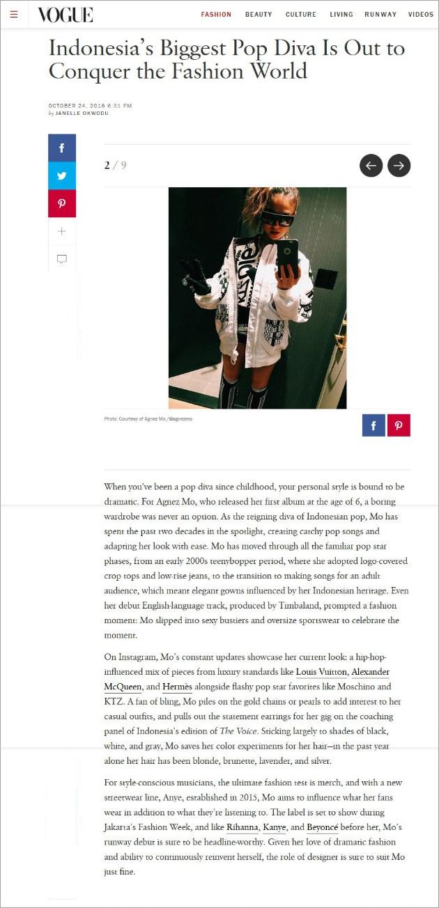 Agnez Mo masuk di majalah Vogue Amerika (vogue)