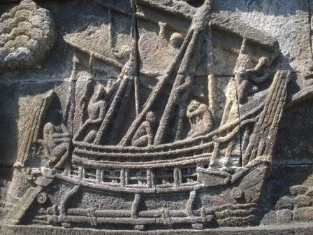Relief perahu di Candi Borobudur (Mediapurnapolri)
