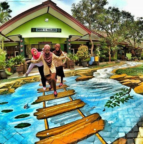 Taman 3 dmensi di SMKN 12 Malang (Wajibbaca)