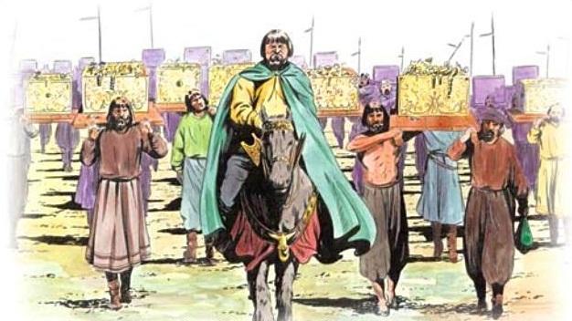 Ilustrasi Qarun memamerkan kekayaannya (Islamislogic)