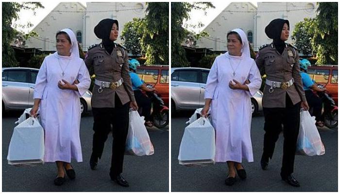 Bikin Adem, Foto Polwan Berhijab Tuntun Biarawati di Jalanan Solo Jadi Berita