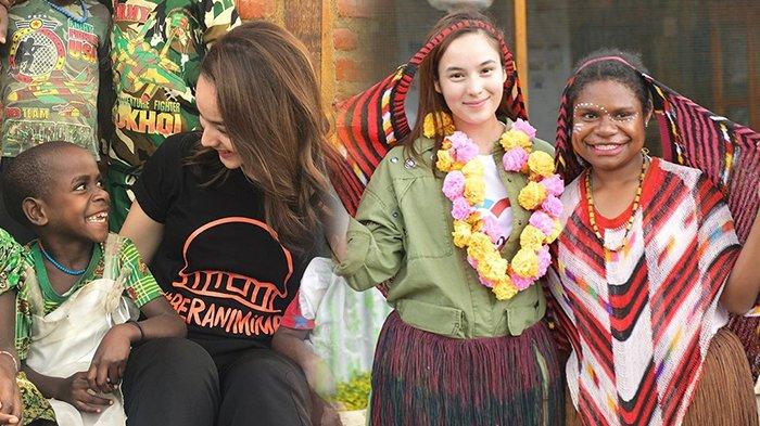 Bagi-bagi Sepatu dan Resmikan PAUD, Ini Potret Kebersamaan Chelsea Islan dan Anak-anak di Papua