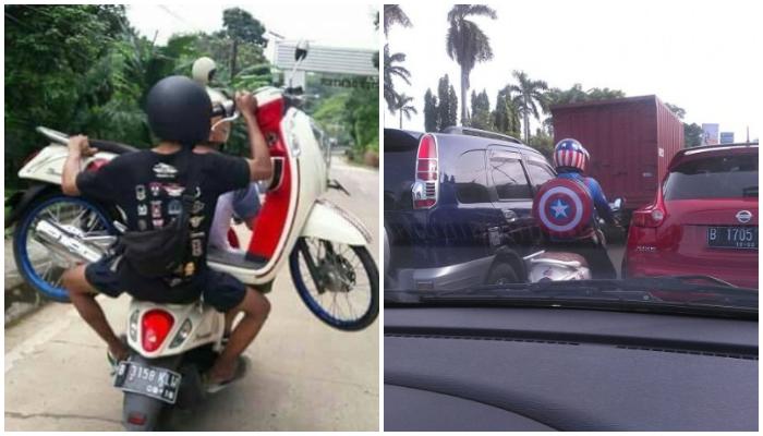 Cuma di Indonesia, Ini Kelakuan Kocak Para Pengendara Motor, Ada yang Sampai Masuk Mini Market!
